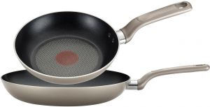 2-Piece T-fal C553S2 Signature Hard Anodized Thermo-Spot Oven Safe Dishwasher Safe Nonstick 7.5-Inch and 10-Inch Saute Fry Pan Cookware Set Gray