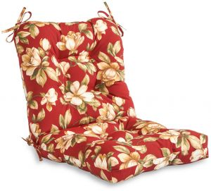 Greendale Home Fashions Indoor/Outdoor Seat/Back Chair Cushion CHAIR PAD  Red 4808 Roma Floral