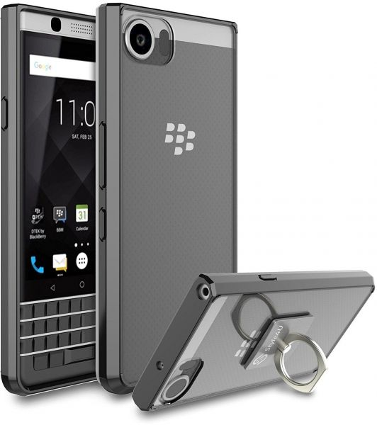 BlackBerry KEYone Case Cover , Style4U , Clear Back Panel , with Ring Grip  , Black Bumper