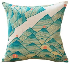 American Country Style - Green Mountains Decorative Cushion Cover with Cushion Filling Throw Pillow