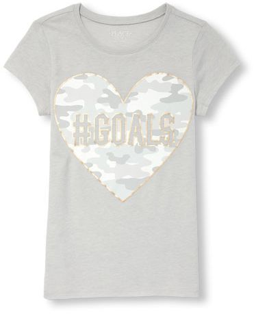 add05196 The Children's Place T-Shirt for Girls, Grey, 10 - 11 Years, 2098236 ...