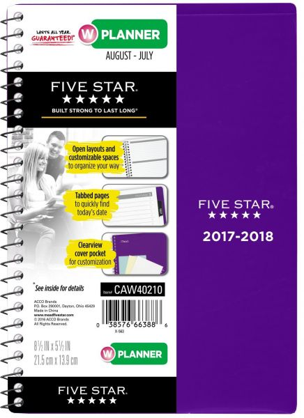 Five Star Student Academic Weekly Monthly Planner August 2017