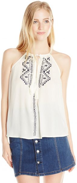 love, FiRE Women's High Tie Neck Tank Top with White Embroidery, Eggnog, X-Large