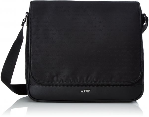 388683eb7e76 Armani Jeans Men s All Over Logo Printed Messenger Bag with Laptop ...