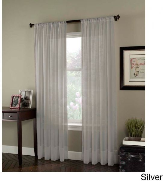"""Curtainworks Soho Voile Sheer Curtain Panel, 59 by 108"""", Silver"""
