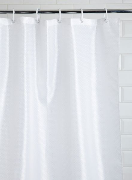Kiera Grace Diamond Dot Fabric Shower Curtain With Metal Grommets And Weighted Bottom Hem White