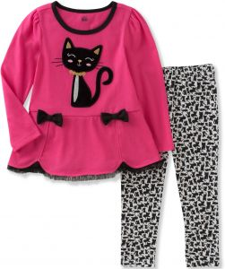 304341248 Kids Headquarters Toddler Girls' Tunic Legging Set, Hot Pink/Black/White, 4T