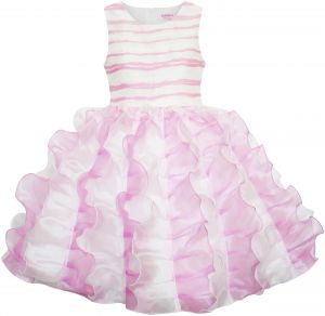 c94aca5ad1 Sunny Fashion Big Girls  Dress Pleated Tulle Princess Striped Wedding  Pageant
