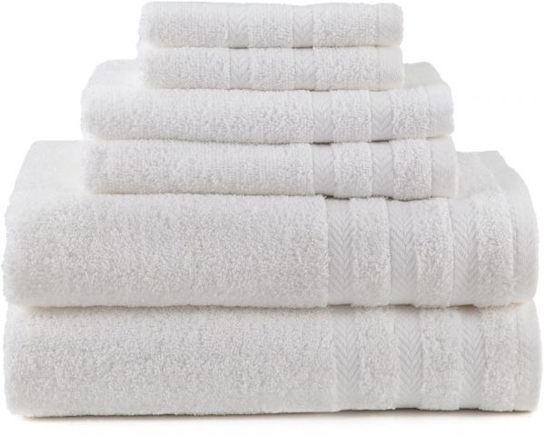 Martex 079465998085 6 Piece Egyptian With Dry Fast Towel Set 2 Bath Towels Hand Wash Cloths White 079465998184