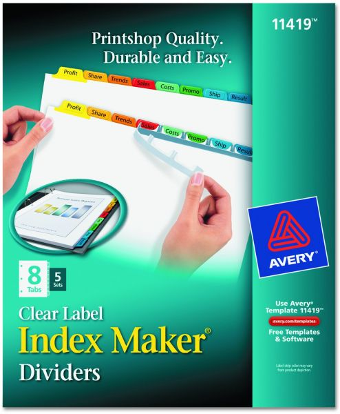 Avery Index Maker Label Dividers Easy Apply Strip 8 Tab Clear 5 Sets 11419