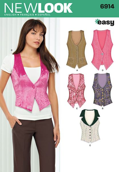 New Look Sewing Pattern 6914 Misses Tops, Size A (4-6-8-10-12-14-16 ...