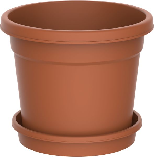 Cosmoplast 10 Inch Round Flower Pot for Plants - Terracotta