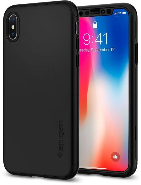 best loved 828f9 1c839 iPhone X Case, Spigen Thin Fit 360 Case with E X act Slim Full Protection &  2 Packs of Glass Screen Black