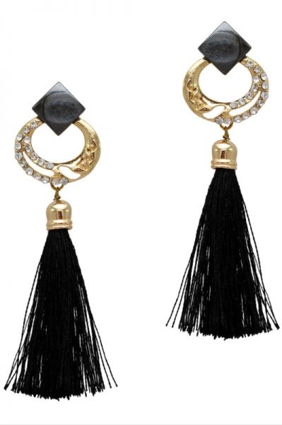 Black Color Rhinestone Thread Work Traditional Earrings  f744fa8110e1