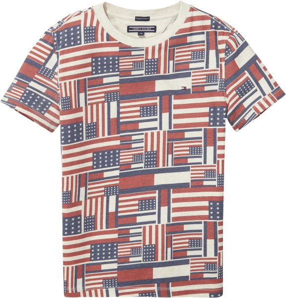 242aca7b710a Tommy Hilfiger All Over Print T-Shirt for Boys - Bone White Heather ...