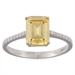 054af8bc8 Denovo Women's Silver 1.25 Cts. Classical Micro Set Solitaire Fancy Yellow  Ring - 8