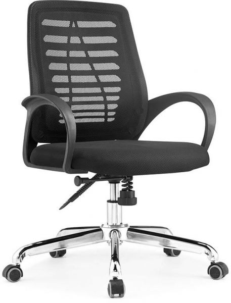 L-Y black color steel office mesh chair with wheels
