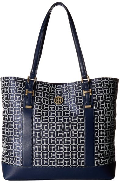 81476f0660f Tommy Hilfiger Gillian Tote Bag for Women, Leather - Navy   White ...