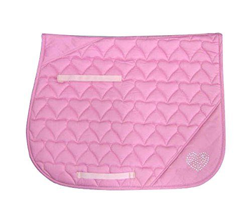 Derby Originals Crystal Hearts Quilted Saddle Pad green