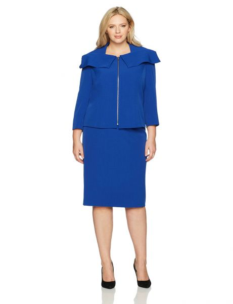 Tahari by Arthur S Levine Womens Plus Size Crepe Skirt Suit with Shawl Collar