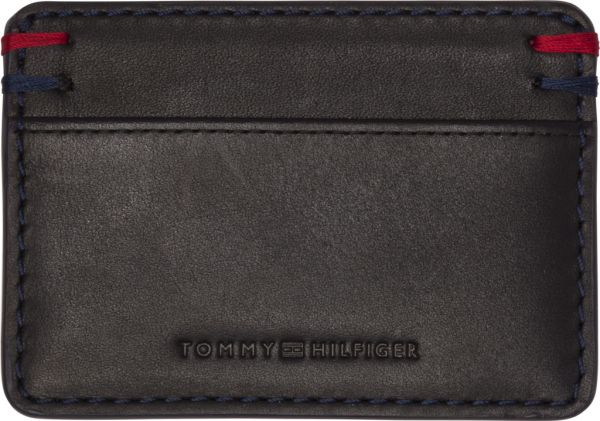 online retailer 4c887 6e787 Tommy Hilfiger Burnished Card Holder for Men, Leather - Black