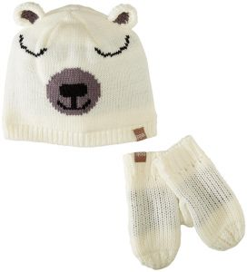 Peppercorn Kids Polar Bear Beanie and Paw Mittens Set M (2-4y) f796bd1338f8