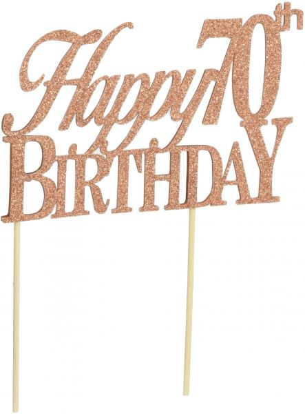 All About Details Happy 70th Birthday Cake Topper 8 X 4 Inches Brown X0014N4JOV