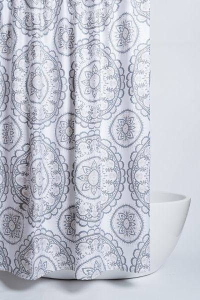 Caro Homes Avalon Grey Medallion Shower Curtain