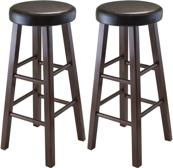 Winsome Wood Marta Assembled Round Bar Stool With Pu Leather Cushion