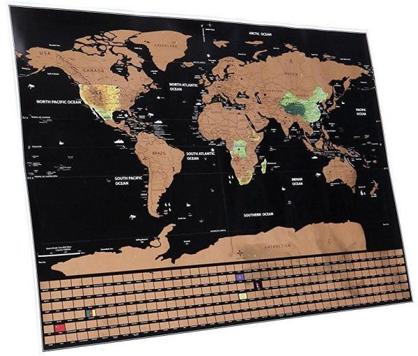 Scratch Off World Map Poster With Saudi Arabia And Country Flags