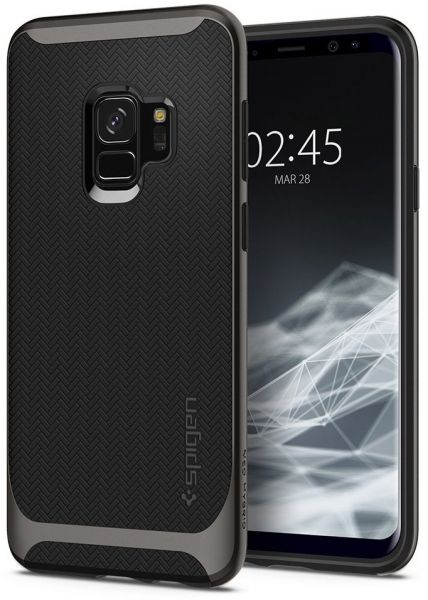 Spigen Samsung Galaxy S9 Neo Hybrid Gun Metal cover / case - Gunmetal with  Herringbone pattern