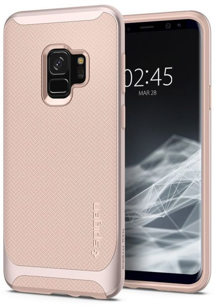 new arrivals 583c3 9a06e Spigen Samsung Galaxy S9 Neo Hybrid cover / case - Pale Dogwood with  Herringbone pattern and Platinum Gold frame
