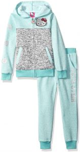 afa7787d67d27f Hello Kitty Little Girls  Sweater Fleece Active Set with Sequins and Glitter  Print