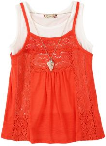5ae6b40a27d17 Speechless Big Girls' 2 Piece Racer Back Cami with Tank Top with Necklace,  Firery Orange, M