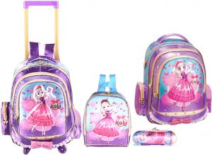 dcdaa6f79b0c4 Kid s Princes Snow 4 In 1 School Trolley Bag Set