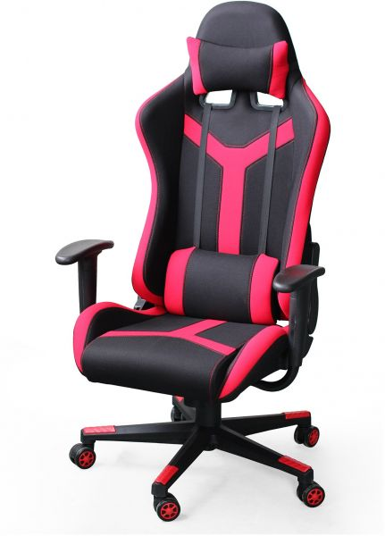 Ebs Executive Swivel Game Chair Racing Style High Back Lumbar Support And Headrest Red