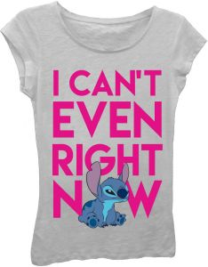 346e0f76c90af Star Wars Big Girls' Lilo and Stitch I Can't Even Right Now Short Sleeve  T-Shirt, Gray, XL
