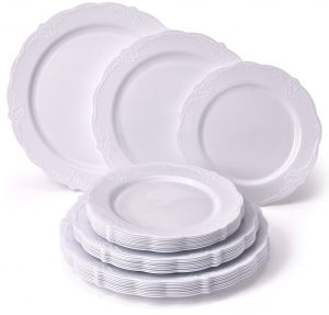 fineline settings 510 wh white silver round buffet plate | Silver ...