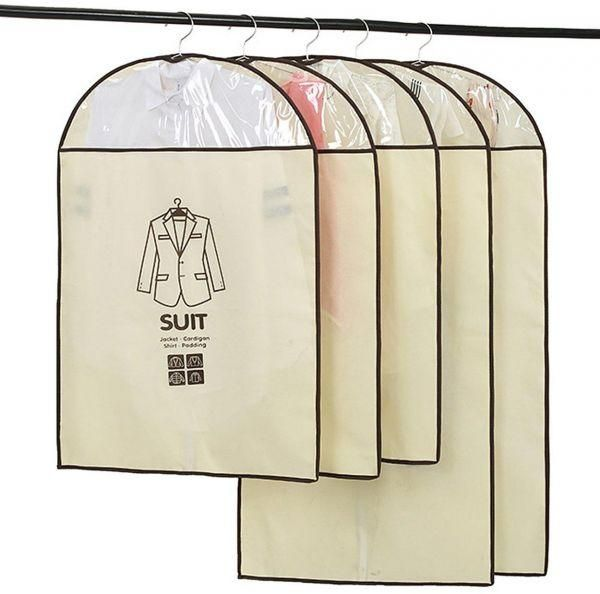 Pack Of 5 Breathable Garment Bag In Closet Clothes Covers Protector Storage  For Suit, Dress