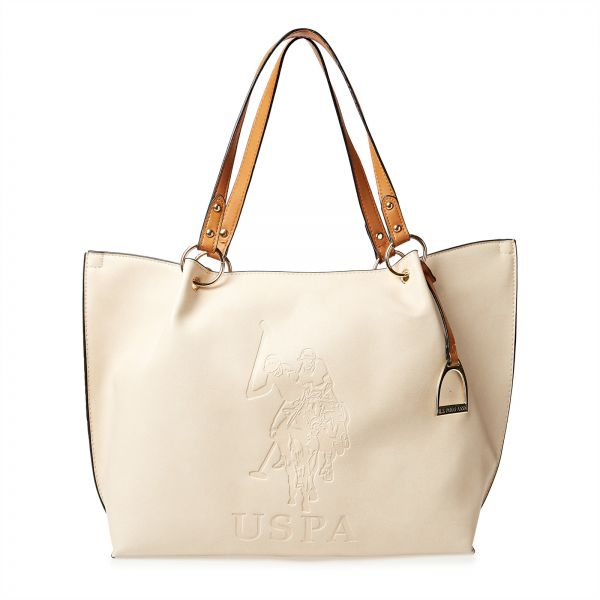 aecfe12d2674 U.S. Polo Assn. Mixed Material Tote Bag for Women - Beige