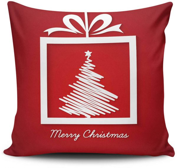 christmas cotton and polyester red and white cushion by christmas decorative pillows