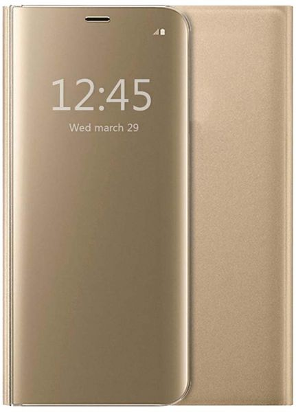 online retailer 77dbc 37992 iPhone 7 Plus Protective Case Cover iPhone 8 Plus Flip Case Clear View  Standing Mirror Case, Gold