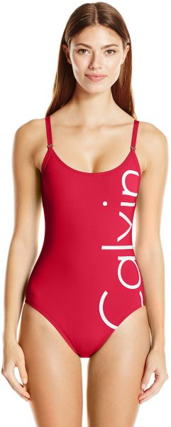 42f59a458d6 Calvin Klein Women's Logo Over The Shoulder One Piece Swimsuit with ...