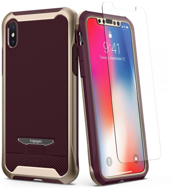 Spigen iPhone X Reventon case   cover - Metallic Gold - Full 360 protection  with 2 pc Glass Protector  d812132f189b