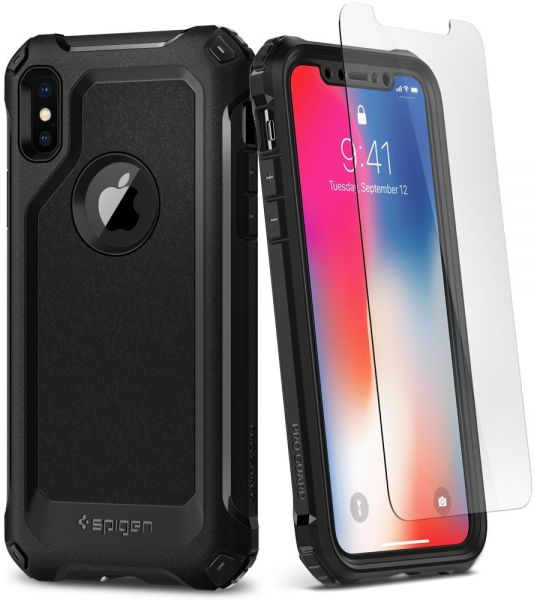 official photos 1ff18 66754 Spigen iPhone X Pro Guard case / cover - Black - Full 360 protection with 2  pc Glass Screen Protector