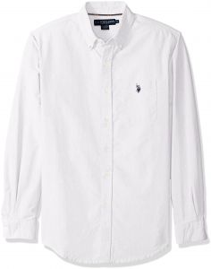 afcbc29f U.S. Polo Assn. Men's Long Sleeve Classic Fit Solid Oxford Cloth Button Down  Sport Shirt, Optic White, Medium