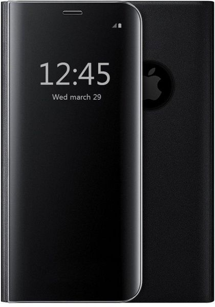 iPhone X Protective Flip Case Shockproof Mirror Case Clear View Standing  Case Cover, Black
