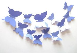 07f5ff82c8619 12pcs 3D purple Butterfly Sticker Decal Magnet Wall Stickers Art Design  Home Decoration