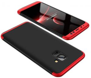 Samsung Galaxy A8 Plus Case,Fashion ultra Slim Gkk 360 Full Protection Cover Case - Red & Black