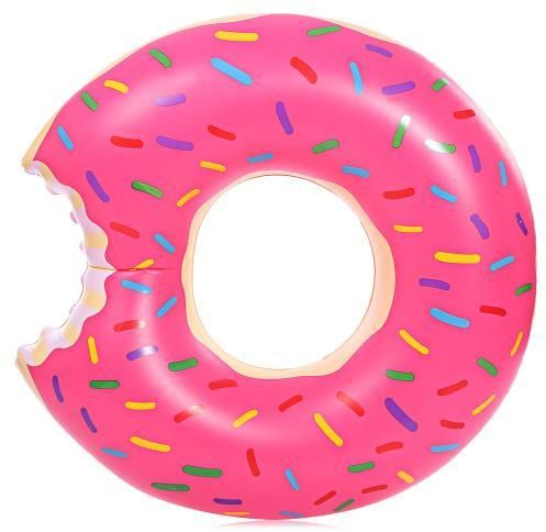 Inflatable Doughnut Swimming Ring Floating Row Pool Toy - red
